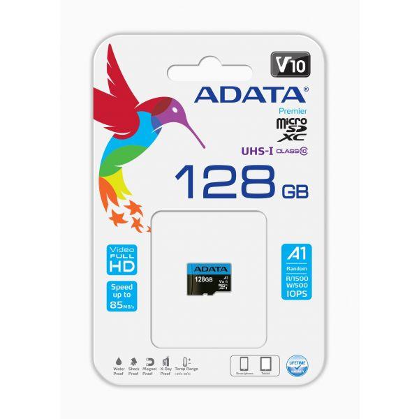 MEMORIA MICRO SD ADATA 128GB UHS-I CLASE 10 A1 AUSDX128GUICL10A1-RA1