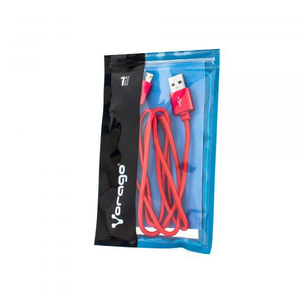 CABLE VORAGO CAB-209 DUAL MICRO USB/LIGHTNING ROJO 1M BOLSA