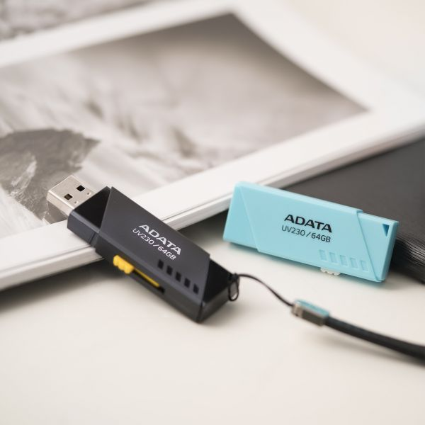 MEMORIA FLASH ADATA UV230 64GB USB 2.0 NEGRO PC-MAC AUV230-64G-RBK