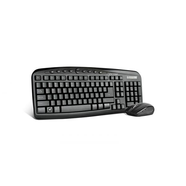 KIT TECLADO Y MOUSE VORAGO KM-303 INALAMBRICO MULTIMEDIA NEGRO
