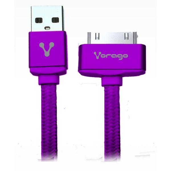 CABLE VORAGO CAB-118 USB-APPLE DOCK 1 METRO MORADO BOLSA