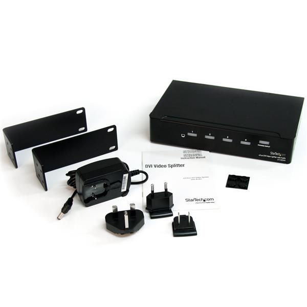 Duplicador Divisor de Video DVI Audio de 4 puertos  STARTECH ST124DVIA