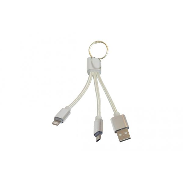 CABLE USB OVALTECH OVCAB-K002 15CM COLOR BLANCO USB/MICROUSB/LIGHTNING