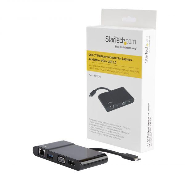 STARTECH ADAPTADOR USB-C -HDMI,VGA 4K USB3.0 RED RJ45 DKT30CHV