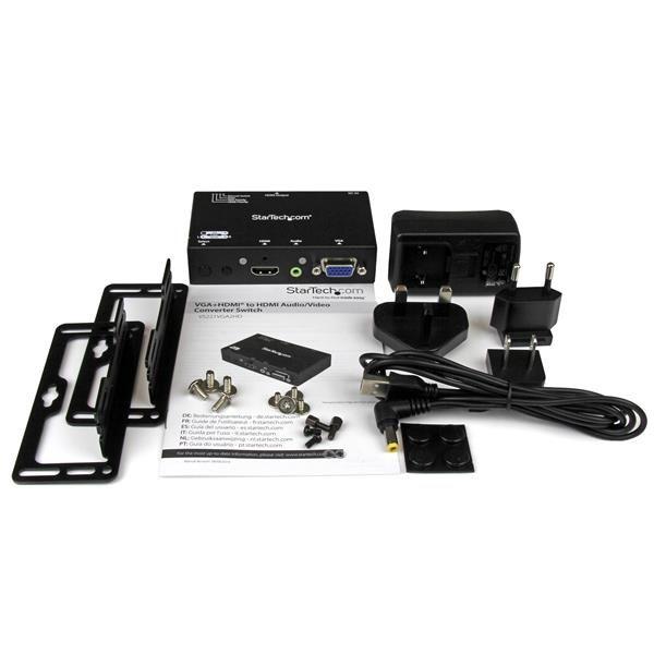 STARTECH SWITCH CONVERTIDOR 2x1 VGA+HDMI A HDMI 1080p VS221VGA2HD