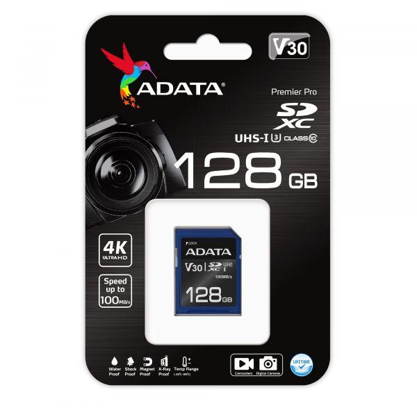 MEMORIA SDXC ADATA 128GB UHS-I CL10 / V30 (ASDX128GUI3V30S-R)