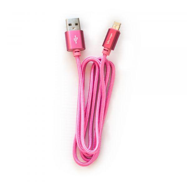 CABLE VORAGO CAB-209 DUAL MICRO USB/LIGHTNING ROSA 1M BOLSA