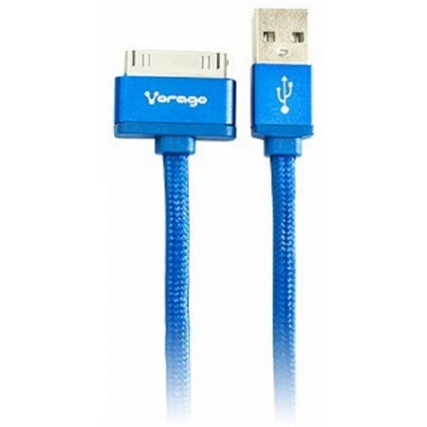 CABLE VORAGO CAB-119 AZUL USB-APPLE LIGHTNING 1 METRO AZUL BOLSA
