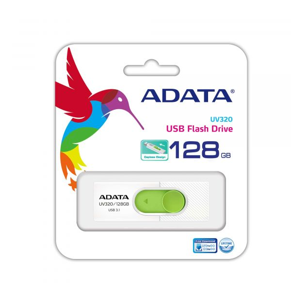MEMORIA FLASH ADATA UV320 128GB USB3.1 VERDE/BLANCO AUV320-128G-RWHGN