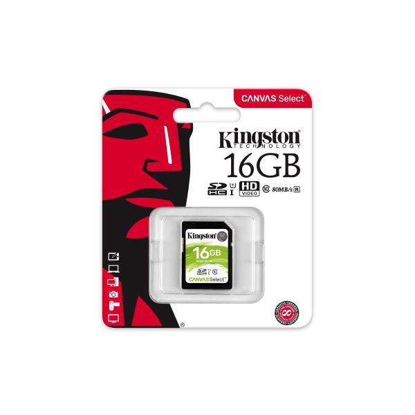 MEMORIA SD KINGSTON CANVAS SELECT 16GB SDXC UHS-I CLASE10 SDS/16GB
