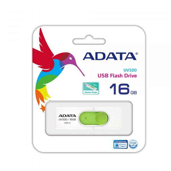 MEMORIA FLASH ADATA UV320 16GB USB3.1 VERDE/BLANCO AUV320-16G-RWHGN