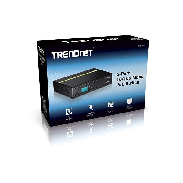 SWITCH TRENDNET FAST ETHERNET TPE-S50 POE 5 PUERTOS1 GBIT/S