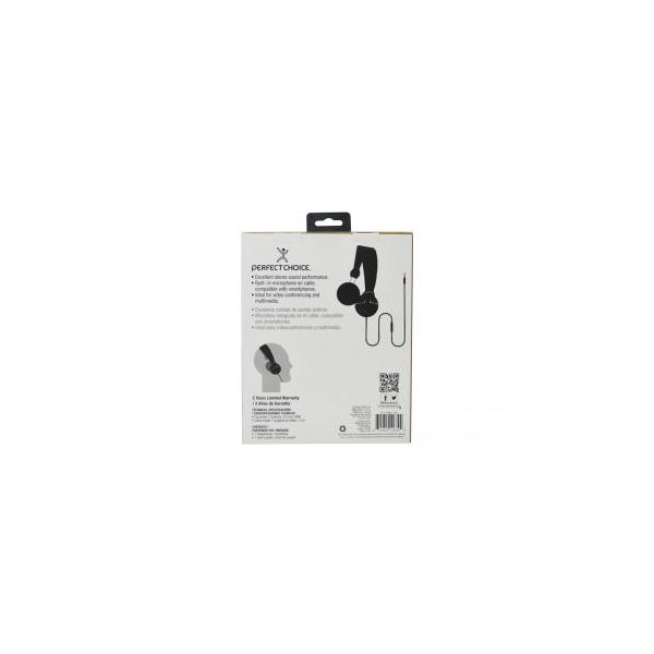 AUDIFONOS PERFECT CHOICE ESSENTIAL 3.5MM NEGRO PC-116394