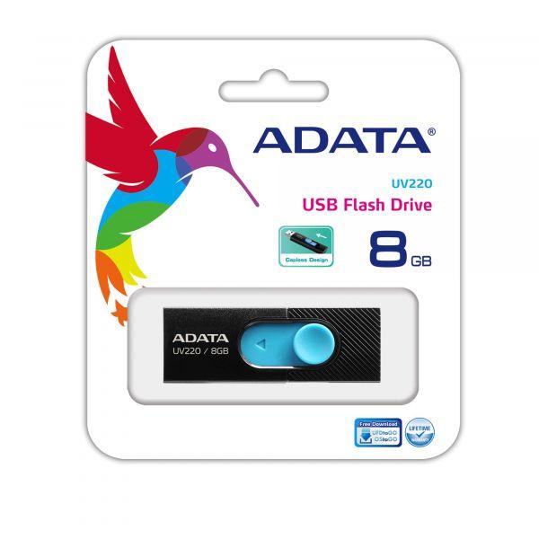 MEMORIA FLASH ADATA UV220 8GB USB2.0 NEGRO/AZUL AUV220-8G-RBKBL