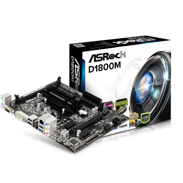TARJETA MADRE ASROCK D1800M 2xDIMM DDR3 HDMI MICRO ATX C/CAJA
