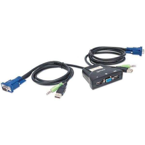 MUX KVM MINI USB 2:1 MANHATTAN CON CABLES + AUDIO 151245