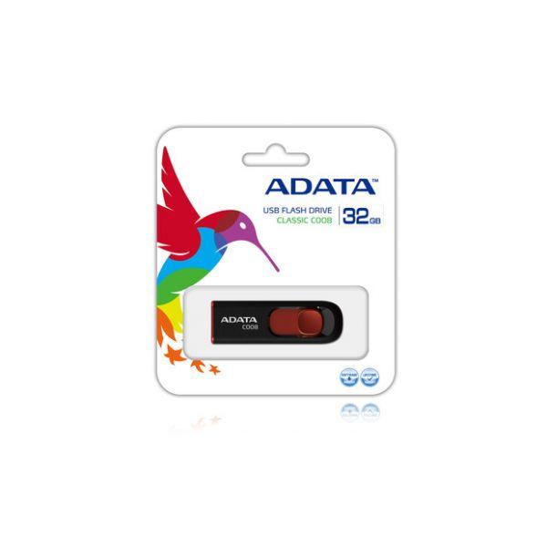 MEMORIA FLASH USB ADATA C008 32GB NEGRO&ROJO (AC008-32G-RKD)