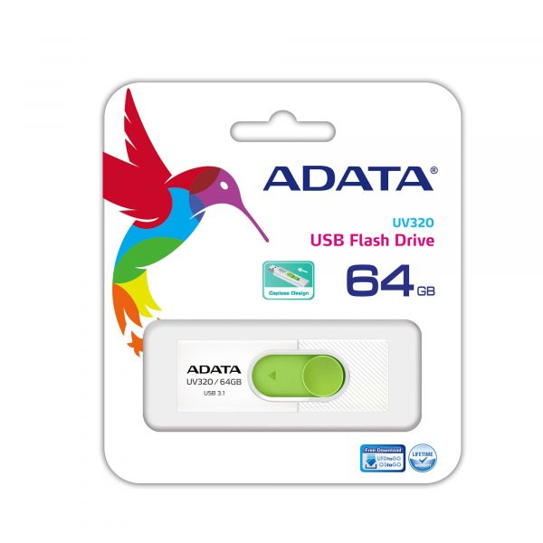 MEMORIA FLASH ADATA UV320 64GB USB3.1 VERDE/BLANCO AUV320-64G-RWHGN