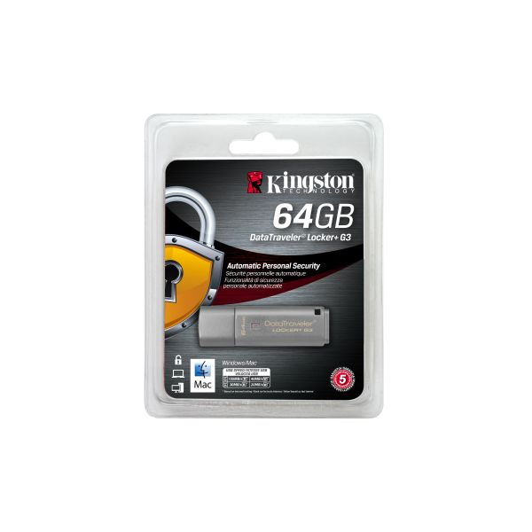 MEMORIA USB 3.0 KINGSTON DT LOCKER+ G3 64GB PROTECCION DE DATOS