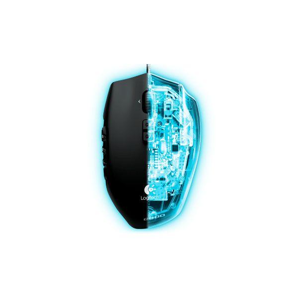 MOUSE GAMER LOGITECH G600 OPTICO 20 BOTONES MMO NEGRO (910-003879)