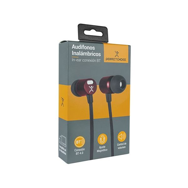 AUDIFONOS BLUETOOTH PERFECT CHOICE MANOS LIBRES IN EAR ROJO PC-116790