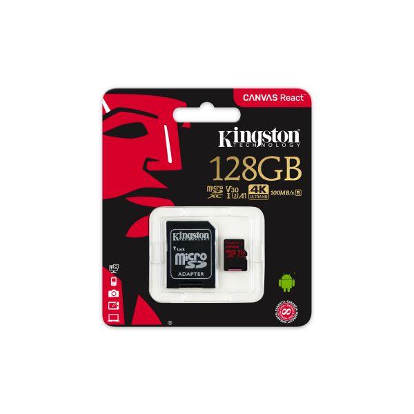 MEMORIA FLASH KINGSTON CANVAS REACT 128GB UHS-I U3 100MB/S ADAPTADOR