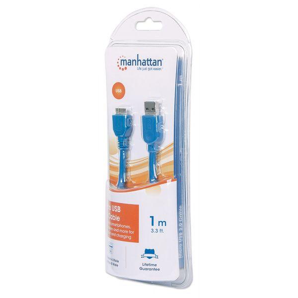 CABLE MANHATTAN USB 3.0 A MACHO - MICRO B MACHO 1.0M AZUL 393898