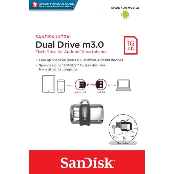 MEMORIA FLASH SANDISK ULTRA DUAL USB DRIVE 3.0 16GB (SDDD3-016G-G46)