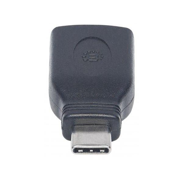 ADAPTADOR MANHATTAN USB C MACHO A USB A HEMBRA NEGRO 354646