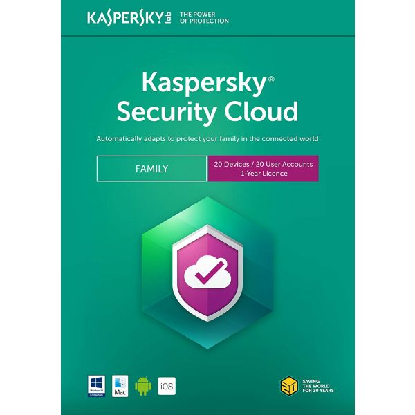 ANTIVIRUS KASPERSKY SECURITY CLOUD FAMILIAR 20 USUARIO  1 AÑO TMKS-184