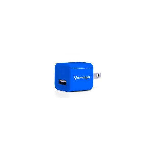 CARGADOR PARA PARED VORAGO AU-105 CON 1 PUERTO USB AZUL