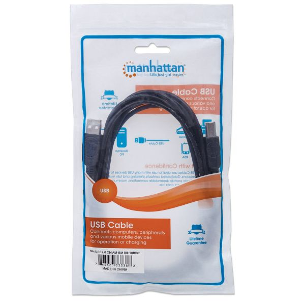CABLE USB MANHATTAN V2.0 A-B 3.0M, NEGRO 333382