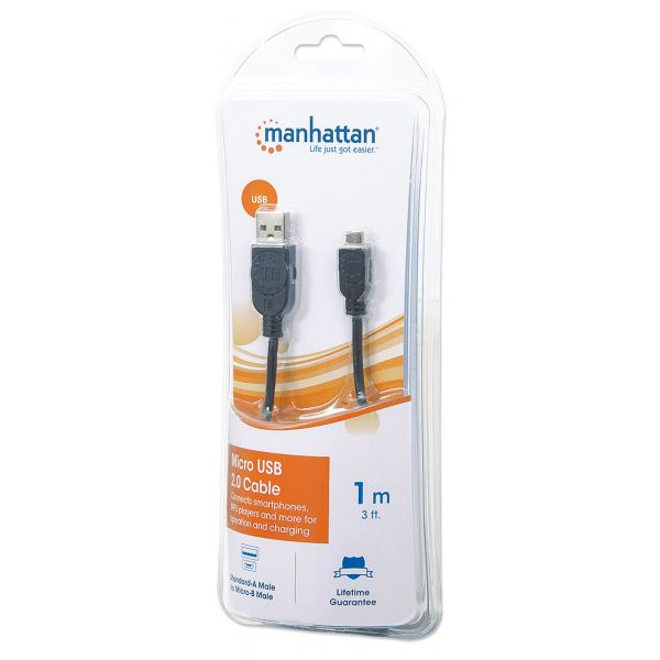 CABLE MANHATTAN USB A MACHO - MICRO B MACHO 1.0M NEGRO 393874