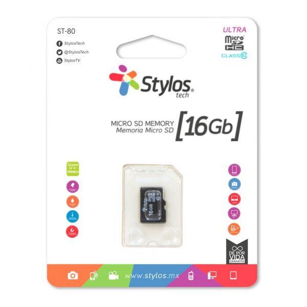 MEMORIA MICRO SD 16GB STYLOS STMSDS2B 16 GB 13MB/S 5 MB/S NEGRO CL10