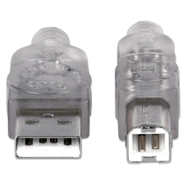 CABLE USB V2.0 MANHATTAN A-B  1.8M PLATA 333405