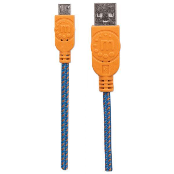 CABLE MANHATTAN USB 2.0 A - MICRO B 1.0M AZUL/NARANJA 394024