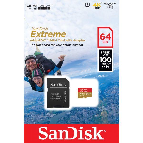 MEMORIA MICROSDHC SANDISK EXTREME 64GB UHS-I CLASE 10 ADAPTADOR