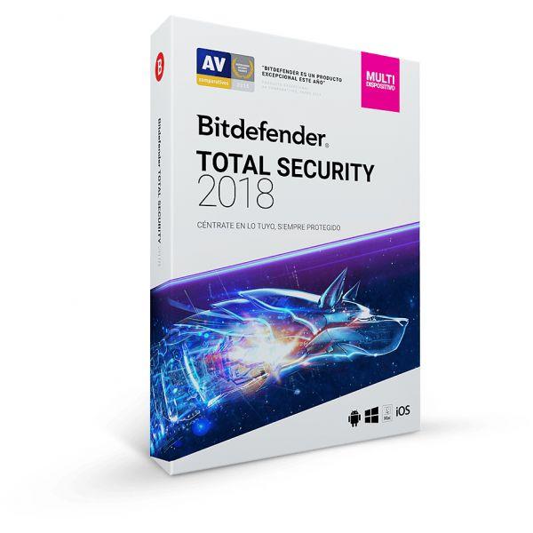 ANTIVIRUS BITDEFENDER TOTAL SECURITY 2018 5 USUARIOS 1 AÑO TMBD-410