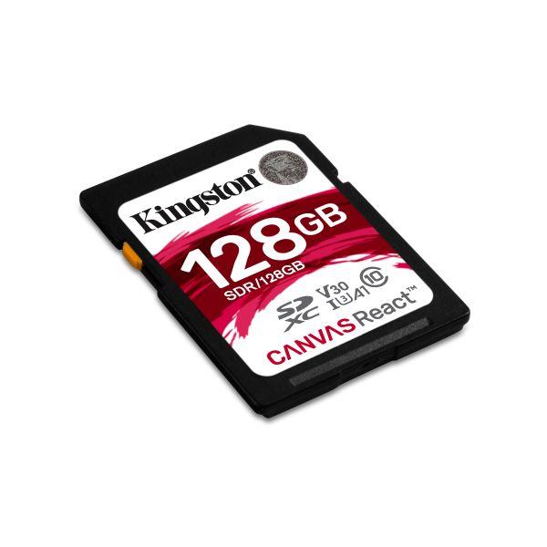 MEMORIA SD KINGSTON CANVAS REACT 128GB SDXC UHS-I CLASE10 SDR/128GB