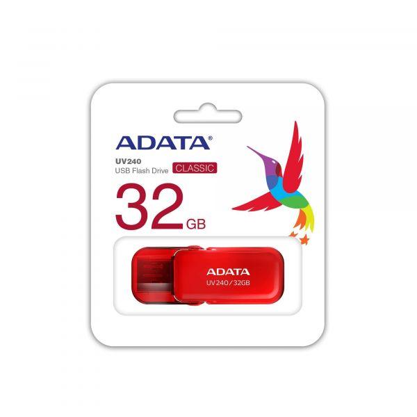 MEMORIA FLASH ADATA UV240 32GB ROJO 2.0 (AUV240-32G-RRD)