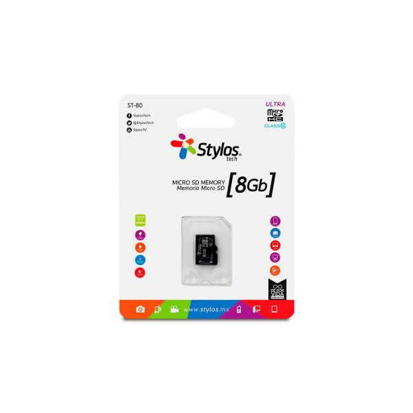 MEMORIA MICRO SD 8GB STYLOS STMSDS1B 8 GB 13MB/S 5 MB/S NEGRO CLASE 10