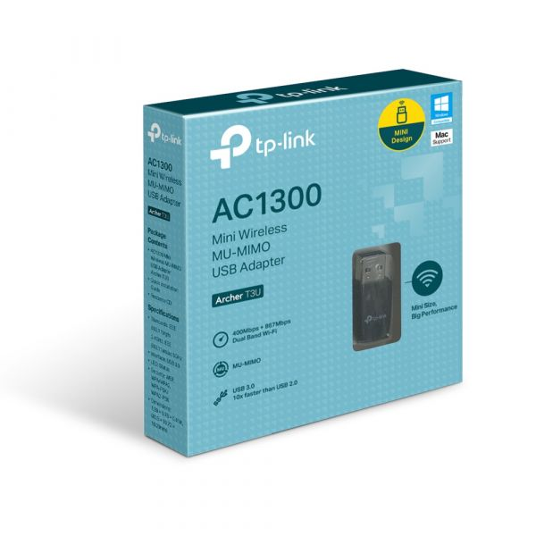 ADAPTADOR INALAMBRICO TP-LINK USB 3.0 MINI AC1300 DUALBAND ARCHER T3U
