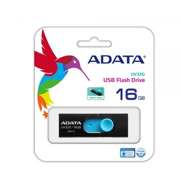 MEMORIA FLASH ADATA UV320 16GB USB3.1 NEGRO/AZUL AUV320-16G-RBKBL