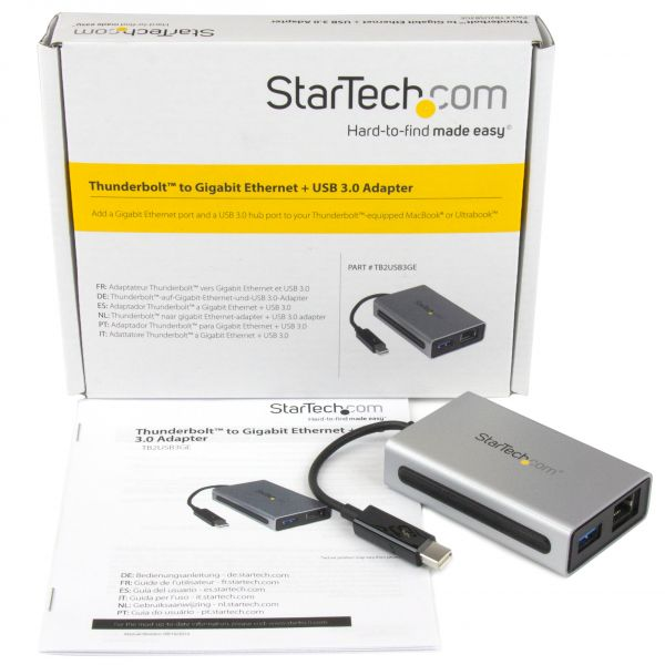 ADAPTADOR STARTECH THUNDERBOLT A USB-A 3.0/RJ45 PLATA TB2USB3GE