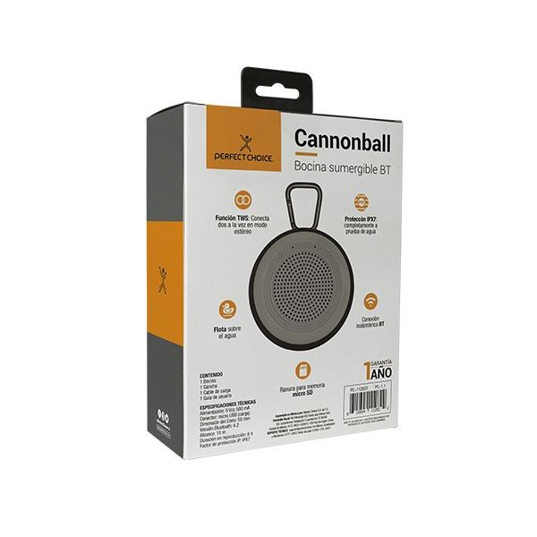 BOCINA BLUETOOTH PERFECT CHOICE CANNONBALL AZUL SUMERGIBLE PC-112808