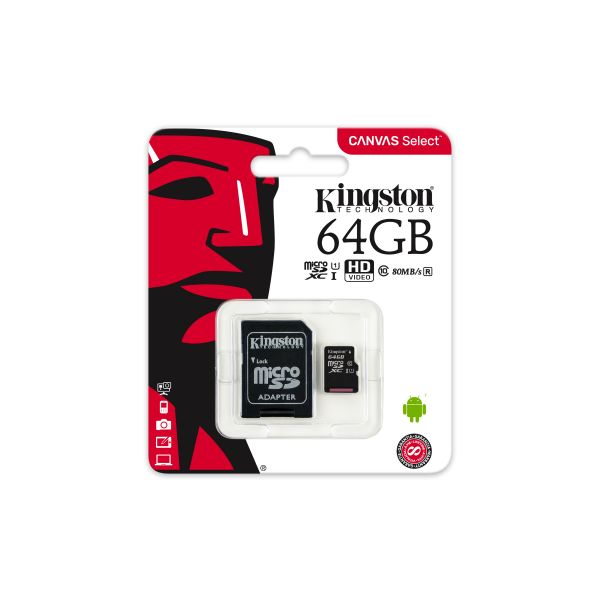 MEMORIA MICRO SD KINGSTON CANVAS SELECT 64GB UHS-I CL10 (SDCS/64GB)