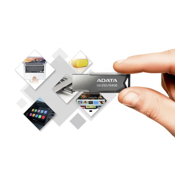 MEMORIA FLASH ADATA UV250 32GB USB 2.0 PLATA (AUV250-32G-RBK)