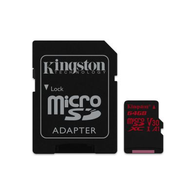 MICRO SD KINGSTON CANVAS REACT 64GB CL10 UHS-I U3 V30 100MB/S C/ADAPT
