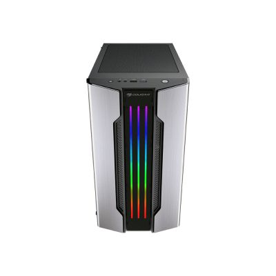 GABINETE GAMER COUGAR GEMINI M IRON PLATA RGB MATX CRISTAL 385TMB0.002