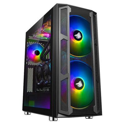 GABINETE GAMER EAGLE WARRIOR THRONE ATX CRISTAL TEMPLADO NEGRO RGB